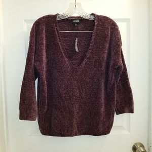 Express chenille deep-v neck sweater NWT